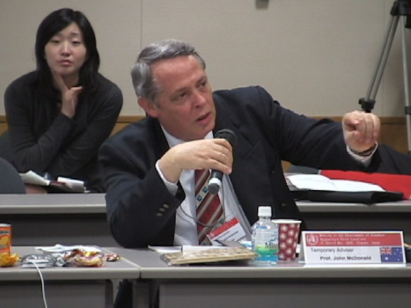 John McDonald speaking at Tsukuba WHO Point Location Standards Meeting, 2006