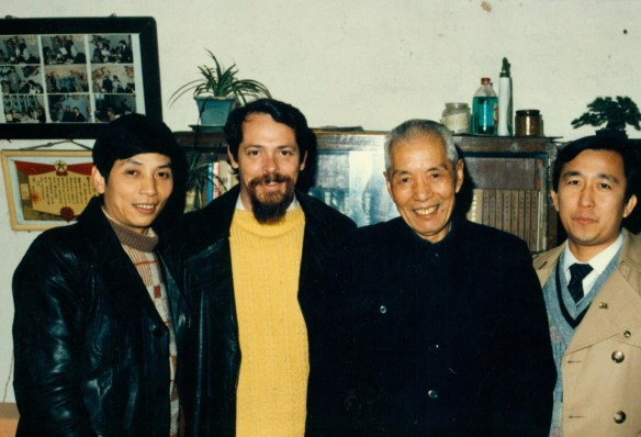 Prof Lou Baiceng at home in Hangzhou with Lou's son and John McDonald, 1987