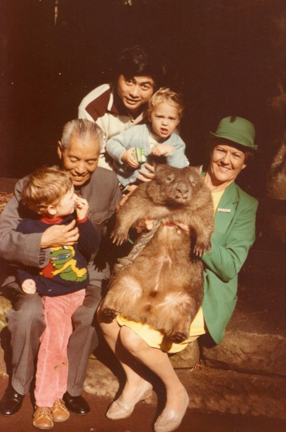 lou baiceng at koala sanctuary with wombat