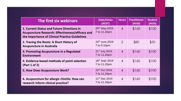 First six webinars with dates
